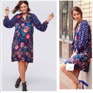 LOFT Bold Floral Print Satin Shift Dress SZ Medium